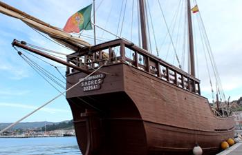 La carabela Boa Esperanza arriba al Puerto de Mazagón