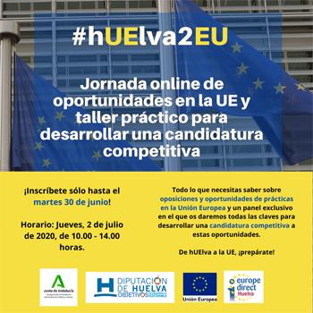 hUElva2EU: Jornada online Oportunidades de Empleo y Prácticas en la UE